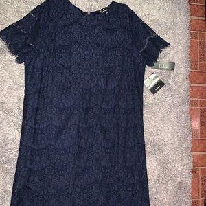 Lulu's Dresses - Navy Lace Shift Dress